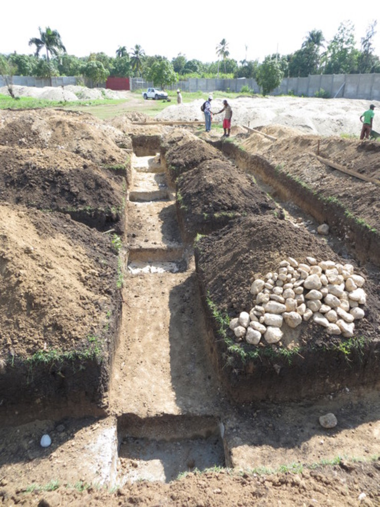 Trench hand dug for foundation & columns